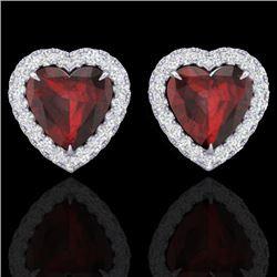 2.22 CTW Garnet & Micro Pave VS/SI Diamond Earrings Heart Halo 14K White Gold - REF-43K6W - 21205