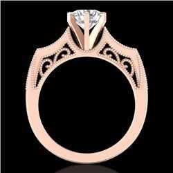 1.25 CTW VS/SI Diamond Solitaire Art Deco Ring 18K Rose Gold - REF-400F2N - 37074