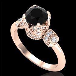 1.75 CTW Fancy Black Diamond Solitaire Engagement Art Deco Ring 18K Rose Gold - REF-134Y5K - 37402