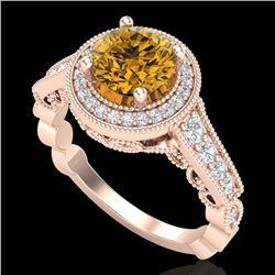 1.91 CTW Intense Fancy Yellow Diamond Engagement Art Deco Ring 18K Rose Gold - REF-263Y6K - 37687