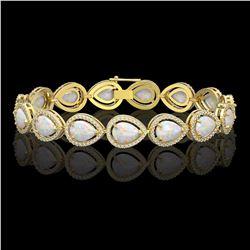17.15 CTW Opal & Diamond Halo Bracelet 10K Yellow Gold - REF-321F6N - 41251