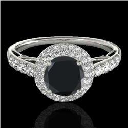 1.65 CTW Certified VS Black Diamond Solitaire Halo Ring 10K White Gold - REF-86M5H - 33700