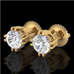 1.07 CTW VS/SI Diamond Solitaire Art Deco Stud Earrings 18K Yellow Gold - REF-200A2X - 36913