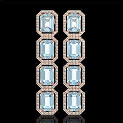 19.49 CTW Aquamarine & Diamond Halo Earrings 10K Rose Gold - REF-323T5M - 41595
