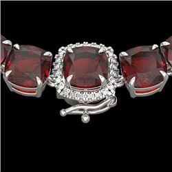 87 CTW Garnet & VS/SI Diamond Halo Micro Pave Necklace 14K White Gold - REF-320N2Y - 23346