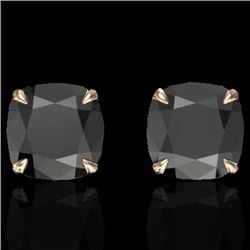 6 CTW Cushion Cut Black VS/SI Diamond Designer Stud Earrings 14K Rose Gold - REF-136M2H - 21734