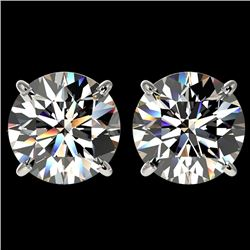 4.04 CTW Certified H-I Quality Diamond Solitaire Stud Earrings 10K White Gold - REF-1237Y5K - 36708