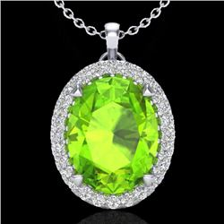 2.75 CTW Peridot & Micro VS/SI Diamond Halo Solitaire Necklace 18K White Gold - REF-51W5F - 20594