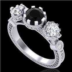 1.75 CTW Fancy Black Diamond Solitaire Art Deco 3 Stone Ring 18K White Gold - REF-153A6X - 37877