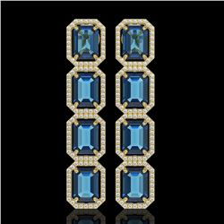 18.99 CTW London Topaz & Diamond Halo Earrings 10K Yellow Gold - REF-184T4M - 41608