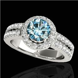 1.5 CTW Si Certified Fancy Blue Diamond Solitaire Halo Ring 10K White Gold - REF-180T2M - 33994