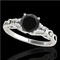 1.2 CTW Certified VS Black Diamond Solitaire Ring 10K White Gold - REF-52M2H - 35253