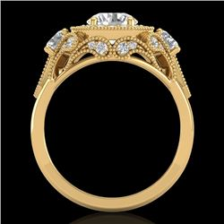 2.11 CTW VS/SI Diamond Solitaire Art Deco 3 Stone Ring 18K Yellow Gold - REF-472X8T - 37330