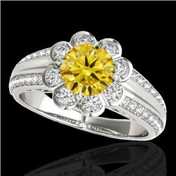 1.5 CTW Certified Si/I Fancy Intense Yellow Diamond Solitaire Halo Ring 10K White Gold - REF-171T6M