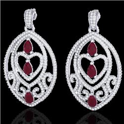 7 CTW Ruby & Micro Pave VS/SI Diamond Heart Earrings Designer 18K White Gold - REF-381F8N - 21158