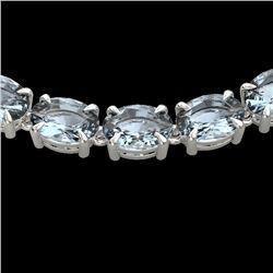 45 CTW Aquamarine Eternity Designer Inspired Tennis Necklace 14K White Gold - REF-418W5F - 23398