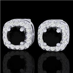 0.90 CTW Micro Pave Black & VS/SI Diamond Earrings Designer Halo 18K White Gold - REF-58H2A - 21169