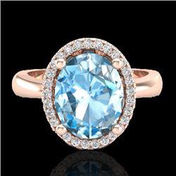 3 CTW Sky Blue Topaz & Micro Pave VS/SI Diamond Ring Halo 14K Rose Gold - REF-37W5F - 21097