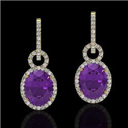 6 CTW Amethyst & Micro Pave Solitaire Halo VS/SI Diamond Earrings 14K Yellow Gold - REF-98W2F - 2272
