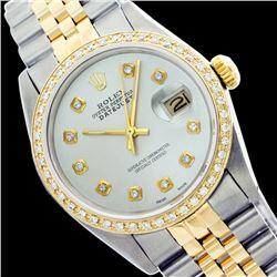 Rolex Men's Two Tone 14K Gold/SS, QuickSet, Diamond Dial & Diamond Bezel - REF-557A4N