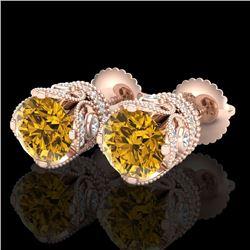 3 CTW Intense Fancy Yellow Diamond Art Deco Stud Earrings 18K Rose Gold - REF-349K3W - 37421