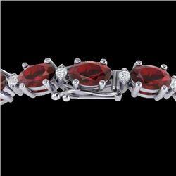 25.8 CTW Garnet & VS/SI Certified Diamond Eternity Bracelet 10K White Gold - REF-119A3X - 29452