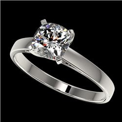 1 CTW Certified VS/SI Quality Cushion Cut Diamond Solitaire Ring 10K White Gold - REF-297N2Y - 32997