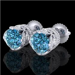 3 CTW Fancy Intense Blue Diamond Solitaire Art Deco Earrings 18K White Gold - REF-349X3T - 37418