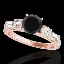 2 CTW Certified VS Black Diamond Pave Solitaire Ring 10K Rose Gold - REF-129W6F - 35475