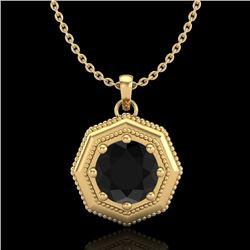 0.75 CTW Fancy Black Diamond Solitaire Art Deco Stud Necklace 18K Yellow Gold - REF-44W5F - 37942