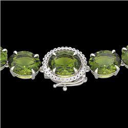 145 CTW Green Tourmaline & VS/SI Diamond Halo Micro Necklace 14K White Gold - REF-1166X2T - 22300