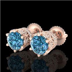 2.04 CTW Fancy Intense Blue Diamond Art Deco Stud Earrings 18K Rose Gold - REF-209F3N - 38098
