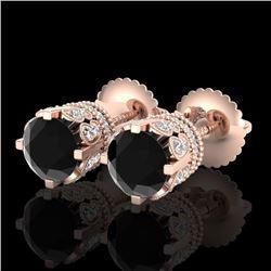 3 CTW Fancy Black Diamond Solitaire Art Deco Stud Earrings 18K Rose Gold - REF-149M3H - 37360