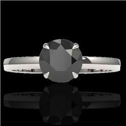 2 CTW Black VS/SI Diamond Designer Inspired Engagement Ring 18K White Gold - REF-64M2H - 22215