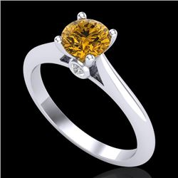 0.83 CTW Intense Fancy Yellow Diamond Engagement Art Deco Ring 18K White Gold - REF-145Y5K - 38197