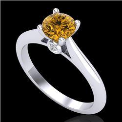 0.83 CTW Intense Fancy Yellow Diamond Engagement Art Deco Ring 18K White Gold - REF-145Y5K - 38197