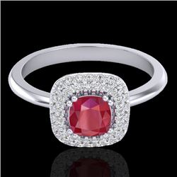 1.16 CTW Ruby & Micro Pave VS/SI Diamond Ring Double Halo 18K White Gold - REF-70H9A - 21033