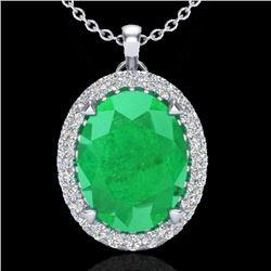2.75 CTW Emerald & Micro VS/SI Diamond Halo Solitaire Necklace 18K White Gold - REF-60H2A - 20587