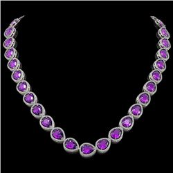 43.2 CTW Amethyst & Diamond Halo Necklace 10K White Gold - REF-603T3M - 41225
