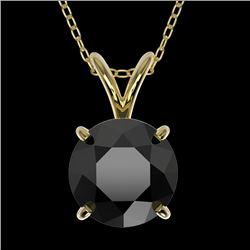 1.50 CTW Fancy Black VS Diamond Solitaire Necklace 10K Yellow Gold - REF-34W3F - 33225