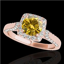 1.7 CTW Certified Si/I Fancy Intense Yellow Diamond Solitaire Halo Ring 10K Rose Gold - REF-178M2H -