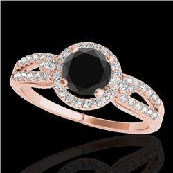 1.25 CTW Certified VS Black Diamond Solitaire Halo Ring 10K Rose Gold - REF-57M5H - 34091