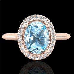 2 CTW Sky Blue Topaz & Micro VS/SI Diamond Ring Solitaire Halo 14K Rose Gold - REF-40W2F - 21003