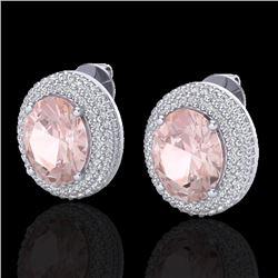 9 CTW Morganite & Micro Pave VS/SI Diamond Earrings 18K White Gold - REF-284F4N - 20229