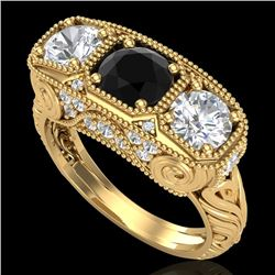 2.51 CTW Fancy Black Diamond Solitaire Art Deco 3 Stone Ring 18K Yellow Gold - REF-309Y3K - 37718