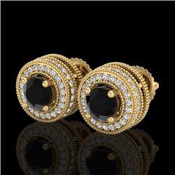 2.09 CTW Fancy Black Diamond Solitaire Art Deco Stud Earrings 18K Yellow Gold - REF-154T5M - 38012