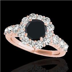 2.9 CTW Certified VS Black Diamond Solitaire Halo Ring 10K Rose Gold - REF-122T5M - 33395