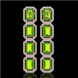 17.81 CTW Peridot & Diamond Halo Earrings 10K Rose Gold - REF-220W8F - 41598