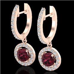 1.75 CTW Garnet & Micro Halo VS/SI Diamond Earrings 14K Rose Gold - REF-71W3F - 23257