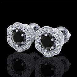 1.51 CTW Fancy Black Diamond Solitaire Art Deco Stud Earrings 18K White Gold - REF-89W3F - 37961